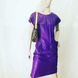 Neiman Marcus Vintage Purple Leather Dress, Size 6